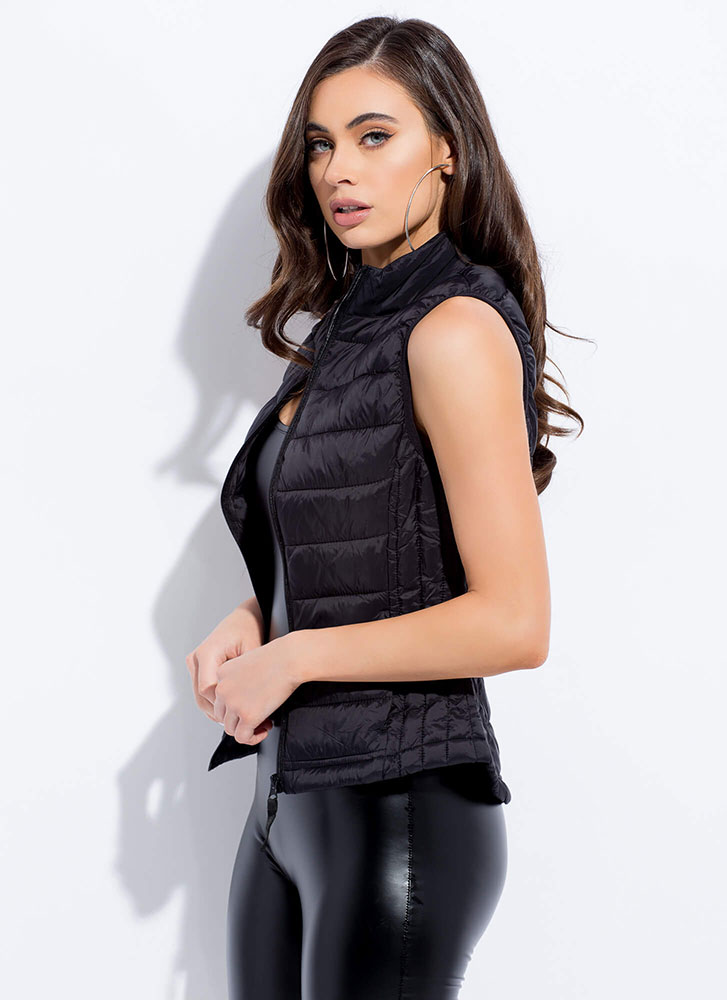 The Layers Club Quilted Puffy Vest BLACK