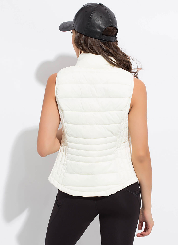 The Layers Club Quilted Puffy Vest IVORY
