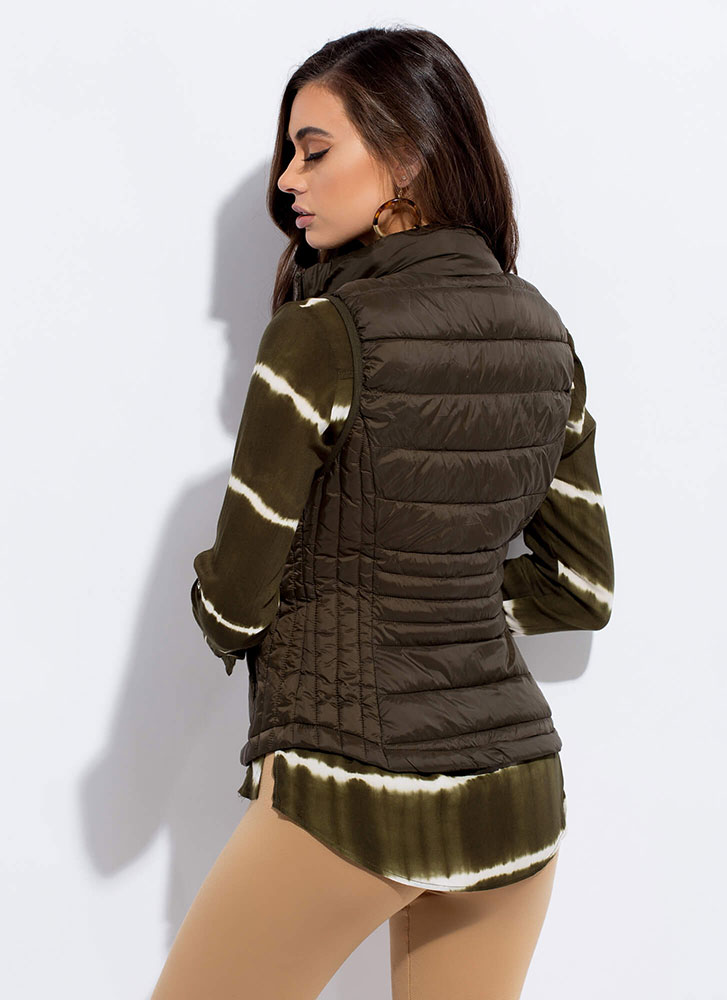 The Layers Club Quilted Puffy Vest OLIVE