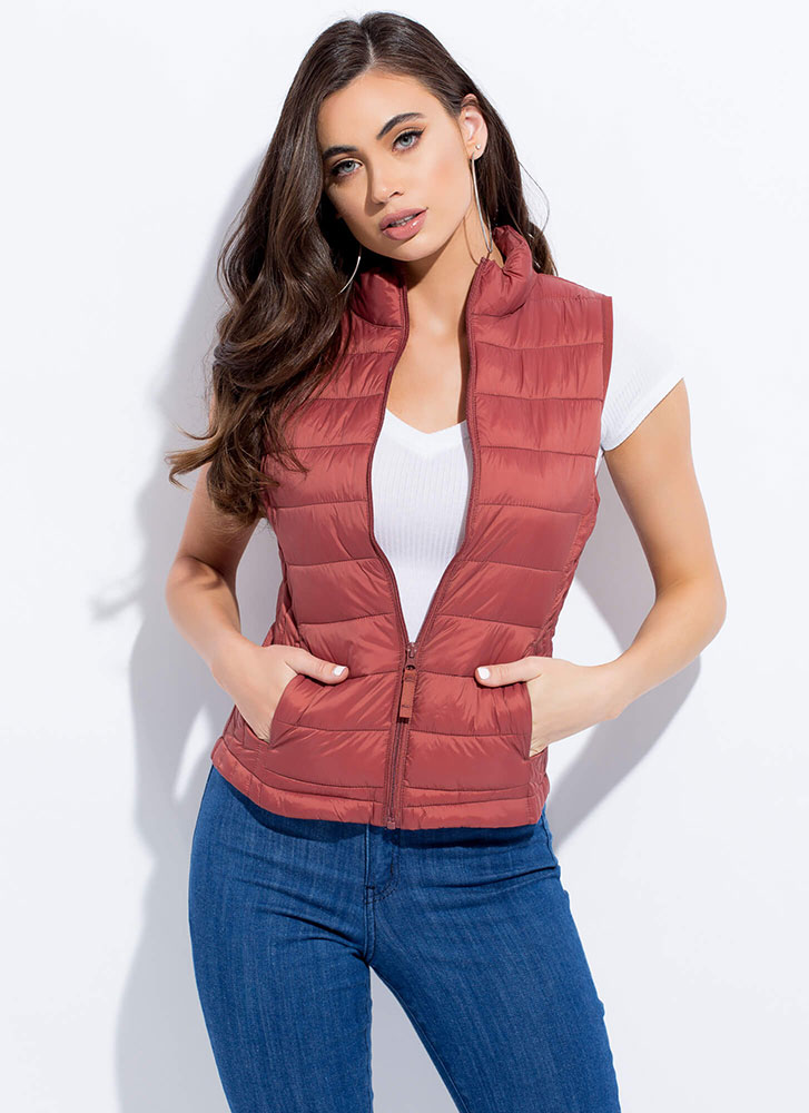 The Layers Club Quilted Puffy Vest RUST