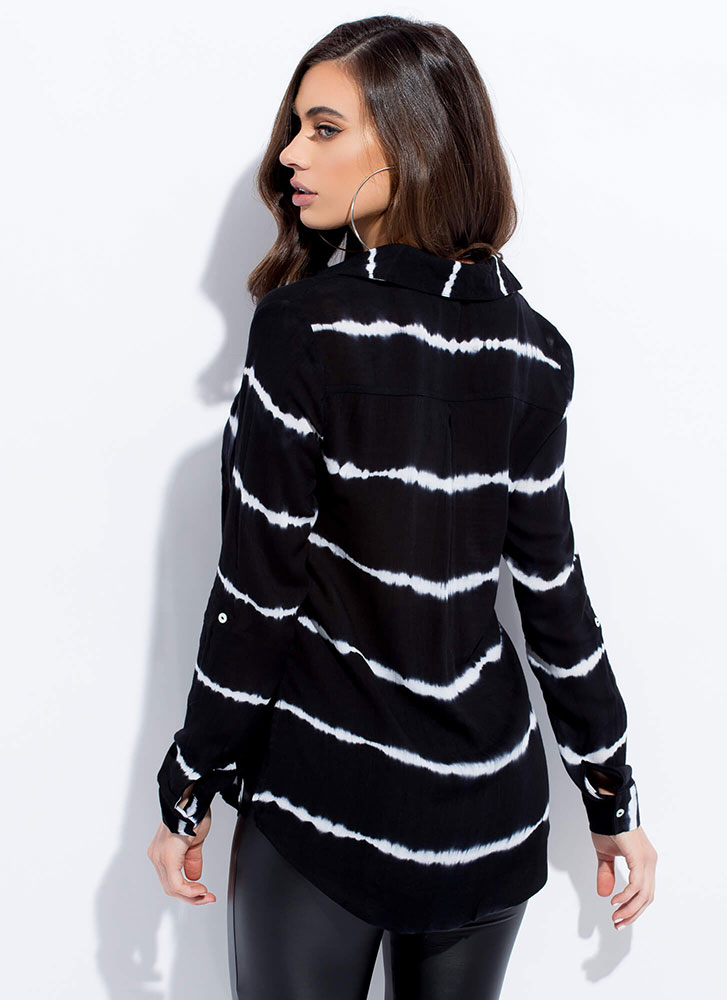 Know Your Lines Tie-Dye Striped Blouse BLACK