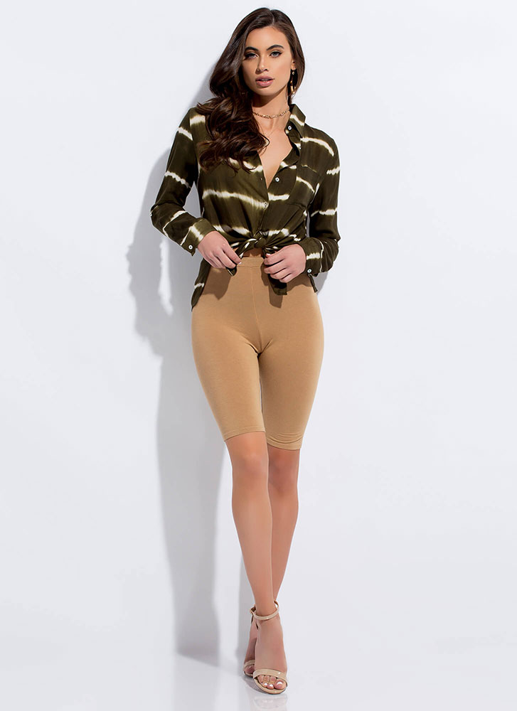 Know Your Lines Tie-Dye Striped Blouse OLIVE