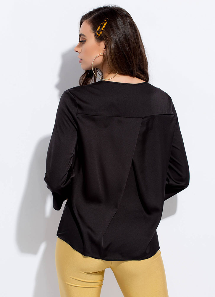 Cut Me Loose Silky Tunic Blouse BLACK