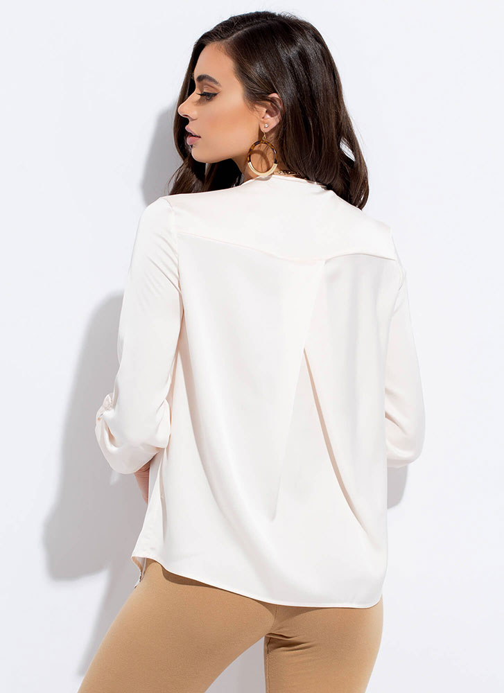 Cut Me Loose Silky Tunic Blouse IVORY