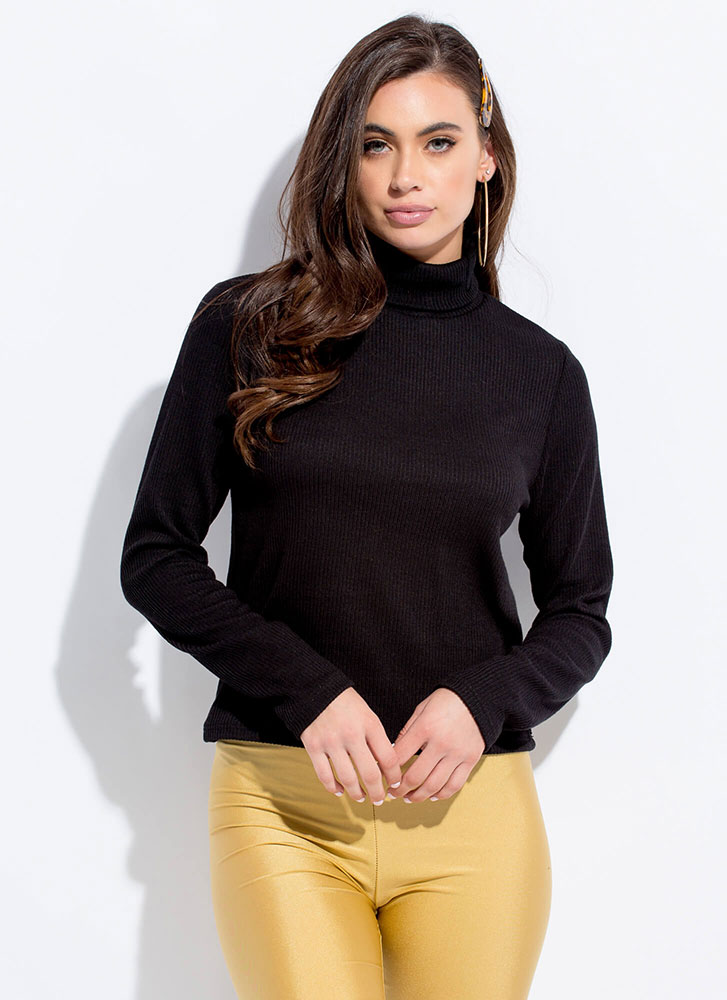 Cover Me Rib Knit Turtleneck Top BLACK