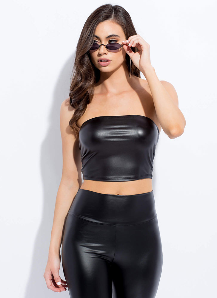 Slick Cropped Faux Leather Tube Top BLACK