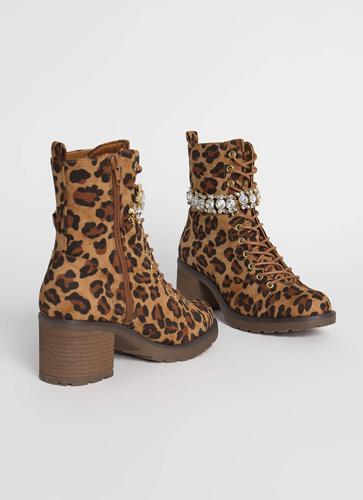 Add Sparkle Jewel Strap Leopard Boots LEOPARD