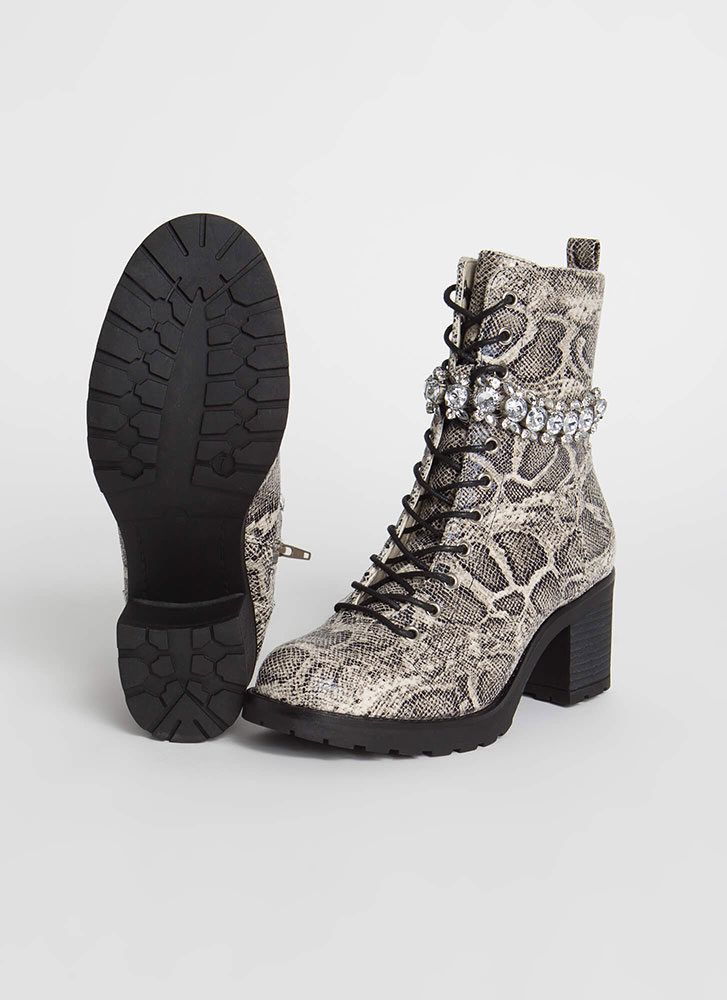 Add Sparkle Jewel Strap Snake Boots SNAKE