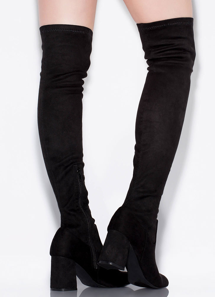 Gotta Have It Chunky Thigh-High Boots BLACK