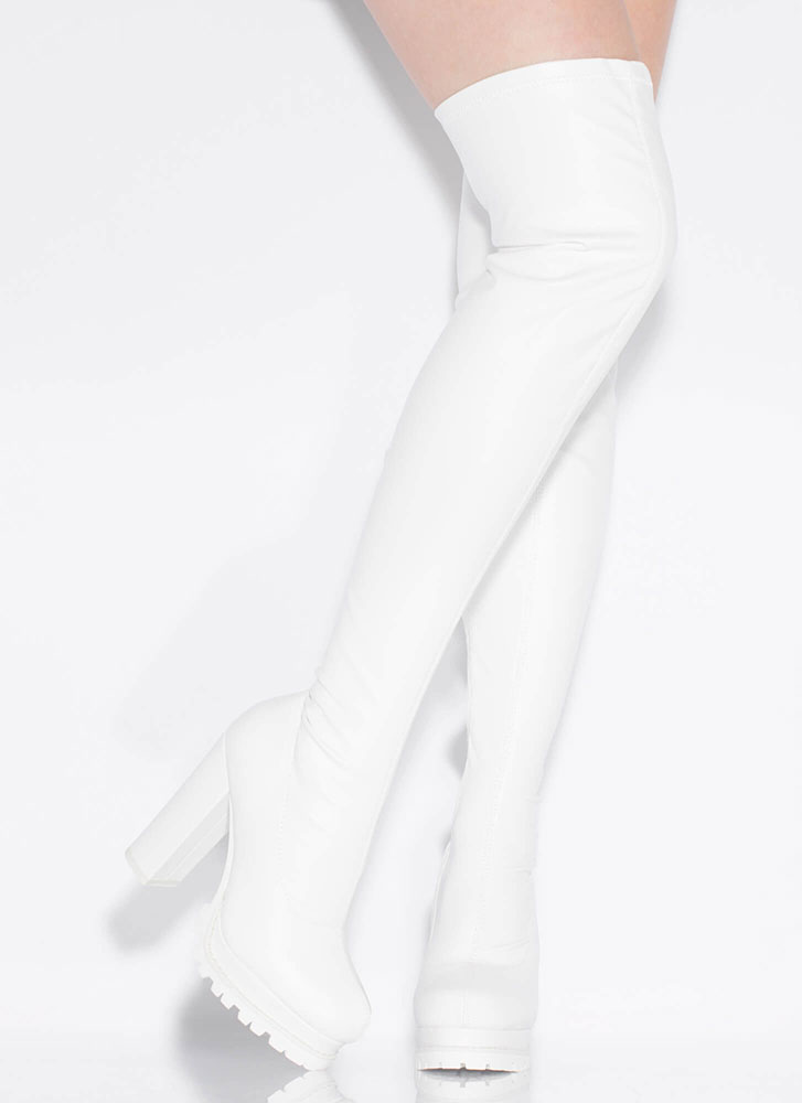 True Lug Faux Leather Thigh-High Boots WHITE