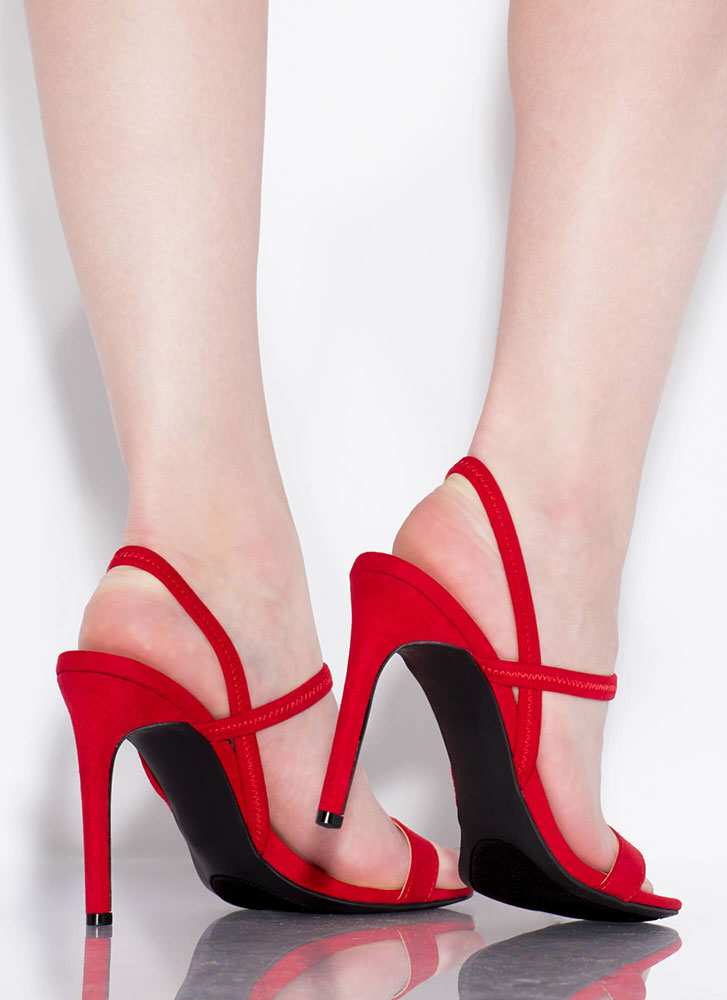 Timeless Silhouette Strappy Heels RED