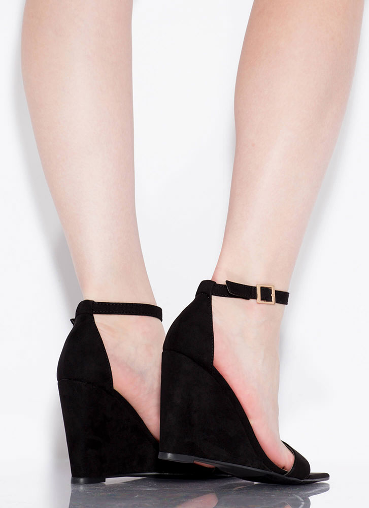 Exclusive Faux Suede Ankle Strap Wedges BLACK