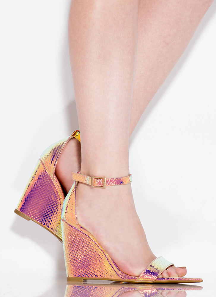 Exclusive Scaled Ankle Strap Wedges IRIDESCENT