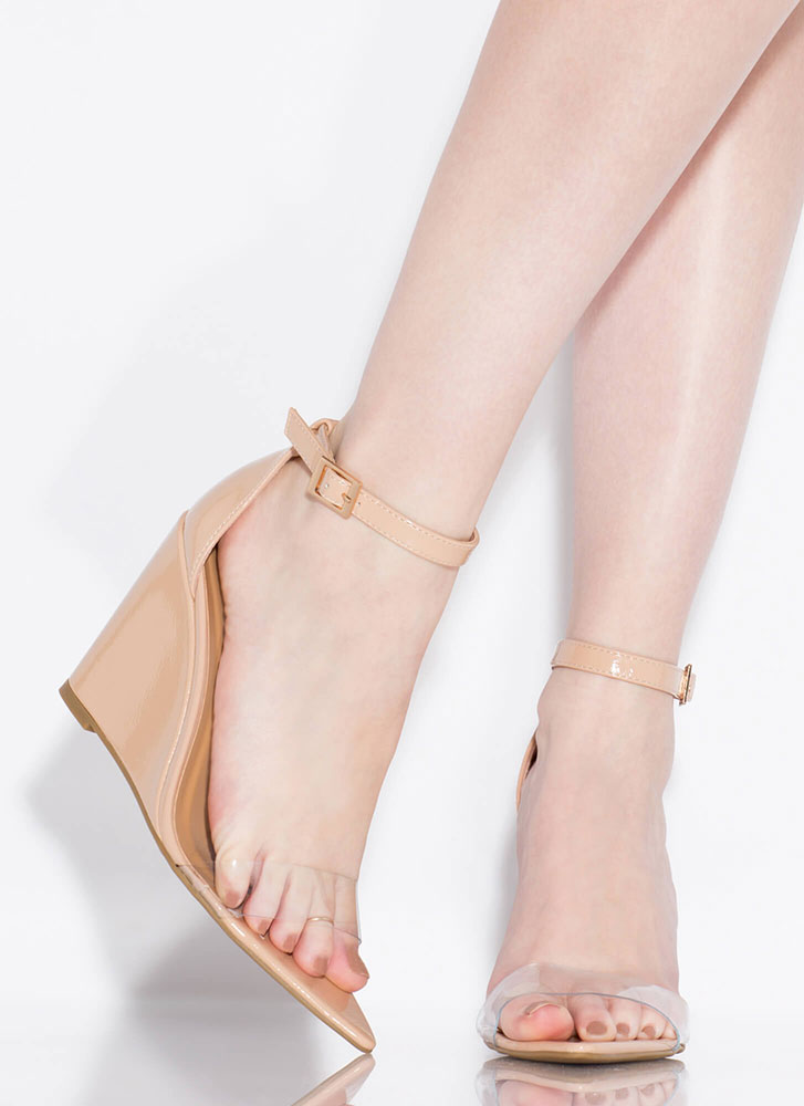 Exclusive Faux Patent Ankle Strap Wedges NUDE