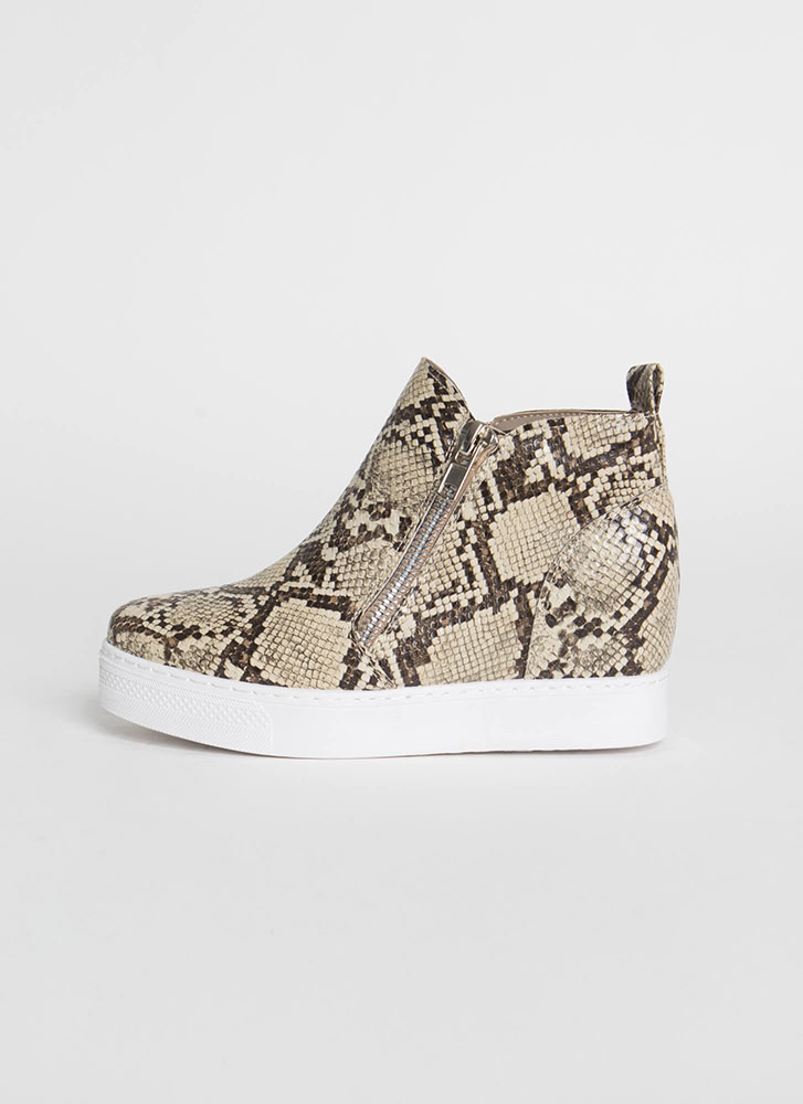 On The Rise Snake Print Wedge Sneakers BEIGE