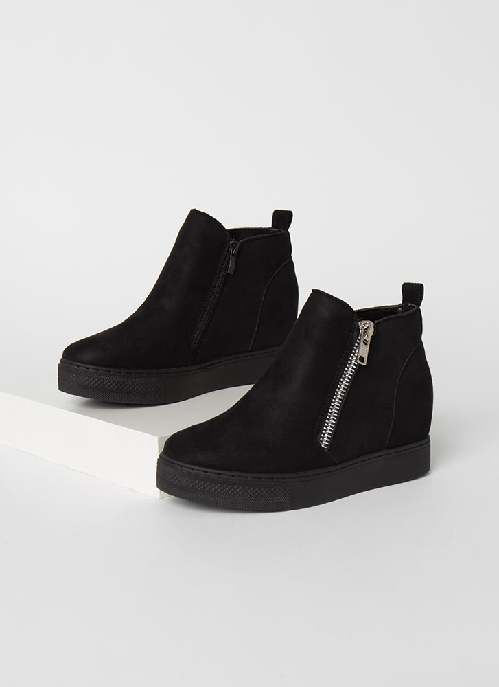 On The Rise Faux Suede Wedge Sneakers BLACK