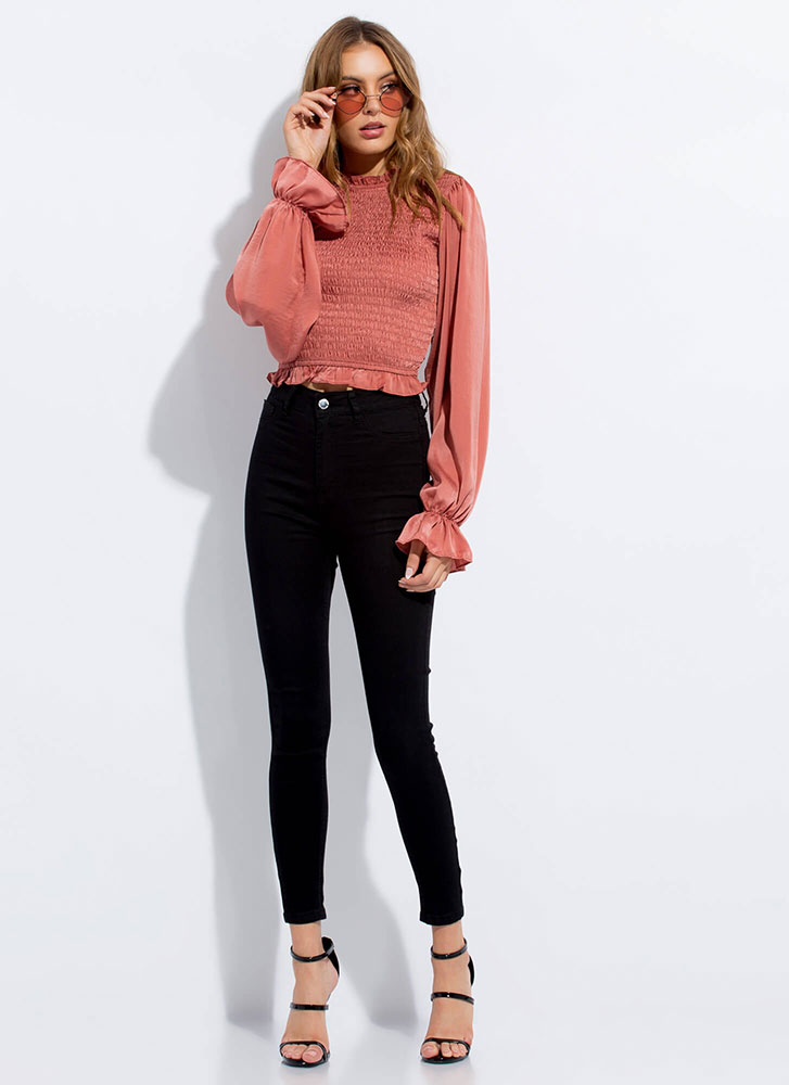 Juliet Lives Frilly Puff Sleeve Top CLAY