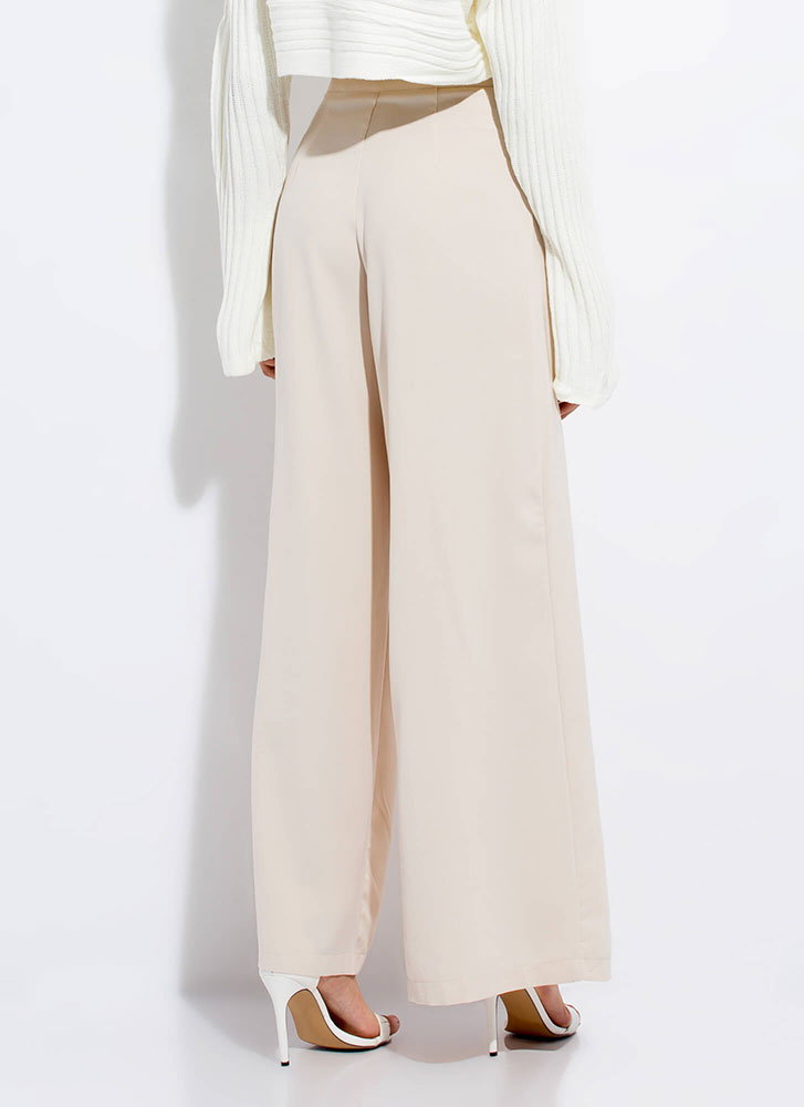 By A Wide Margin Pleated Palazzo Pants BEIGE