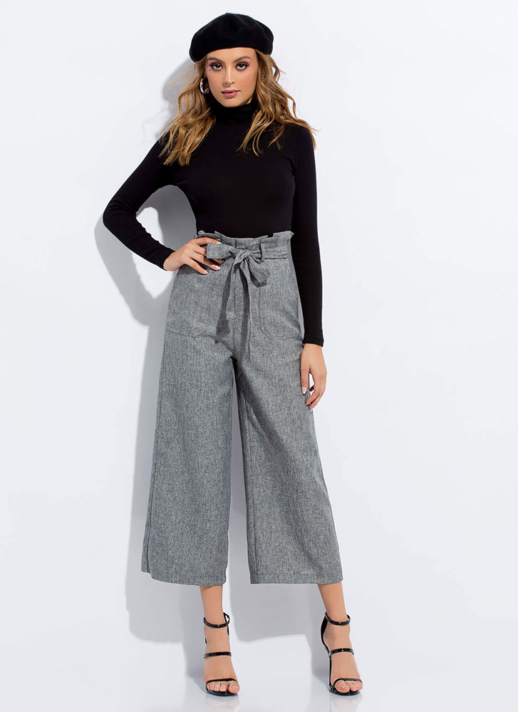 Just Right Tied Cropped Wide-Leg Pants CHARCOAL