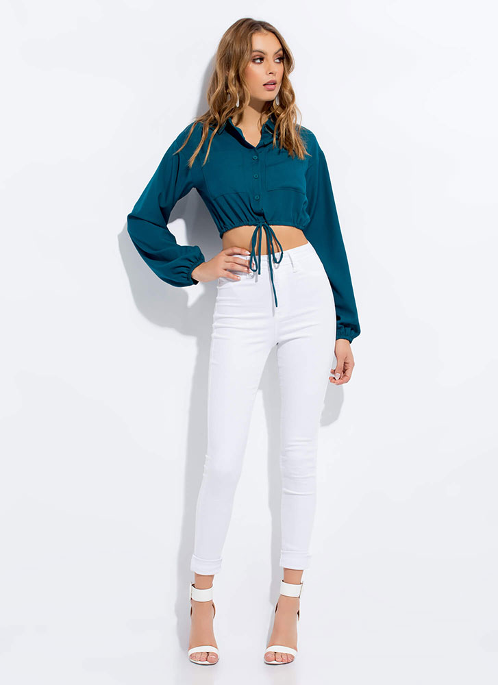 Button-Up And At 'Em Drawstring Crop Top TEAL