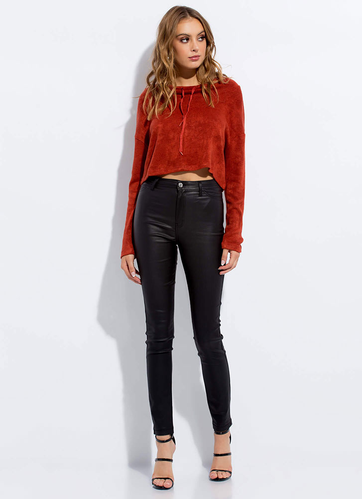 Funnel Vision Soft Drawstring Crop Top RUST