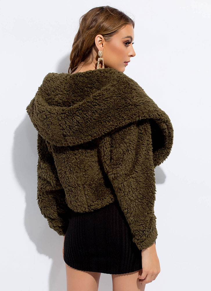 Uptown Hooded Faux Shearling Coat OLIVE