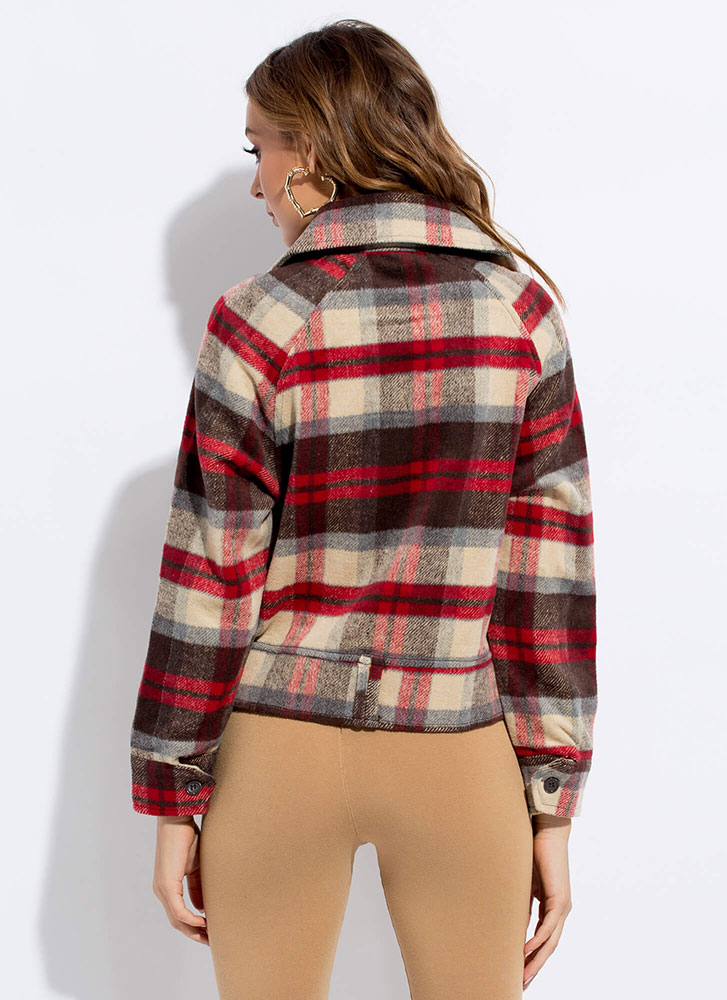Lumber Jane Zip-Up Plaid Flannel Jacket RED