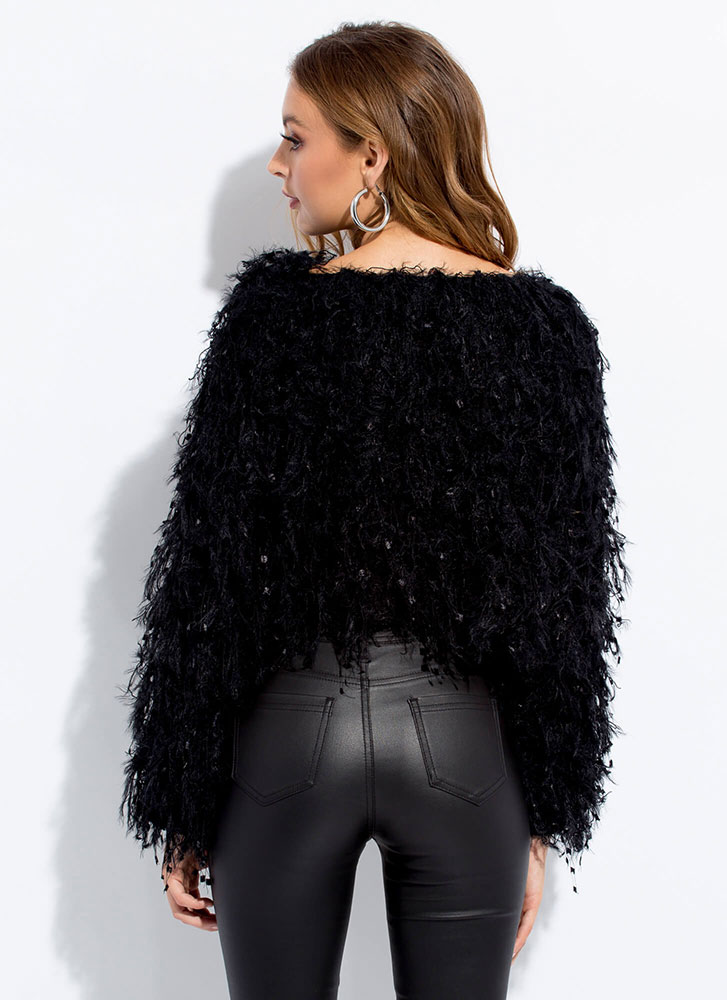 Greatest Knits Feathery Fringed Sweater BLACK