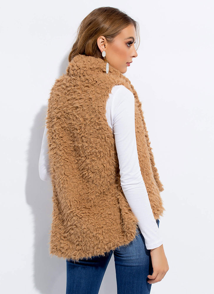 Too Cozy For Comfort Faux Shearling Vest BROWN