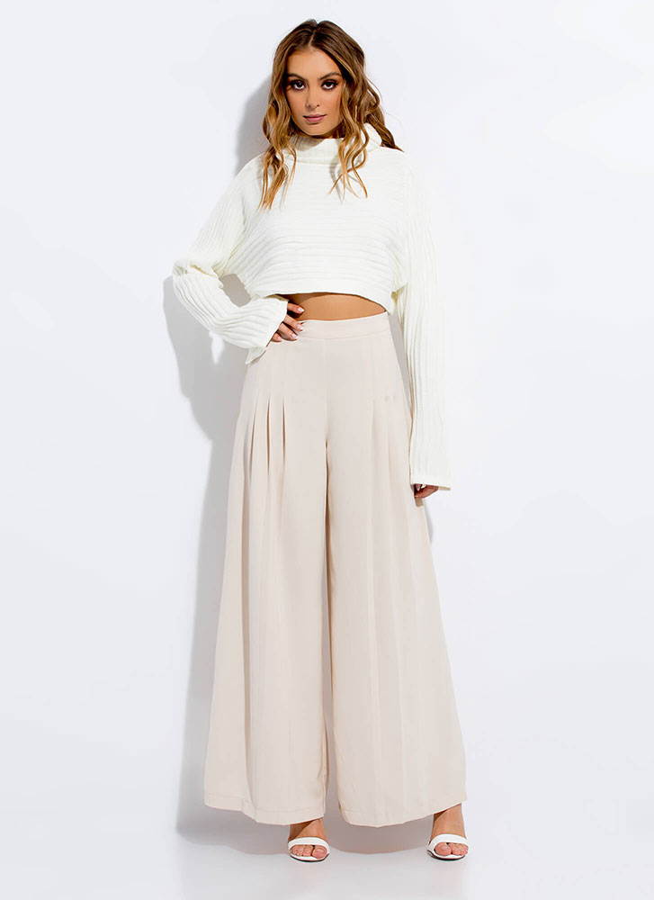 Warm To Hot Cropped Turtleneck Sweater IVORY
