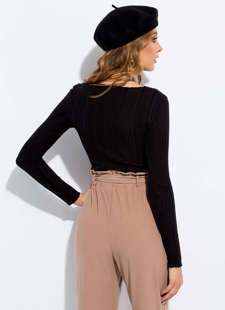 Go For It Ribbed Button-Front Top BLACK