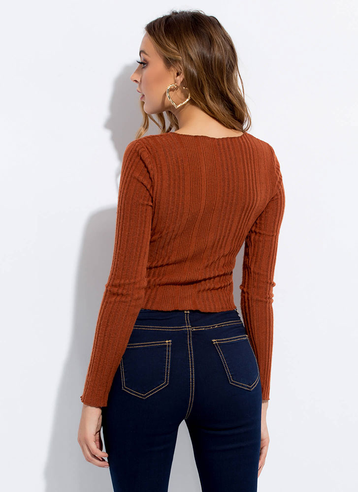 Go For It Ribbed Button-Front Top RUST