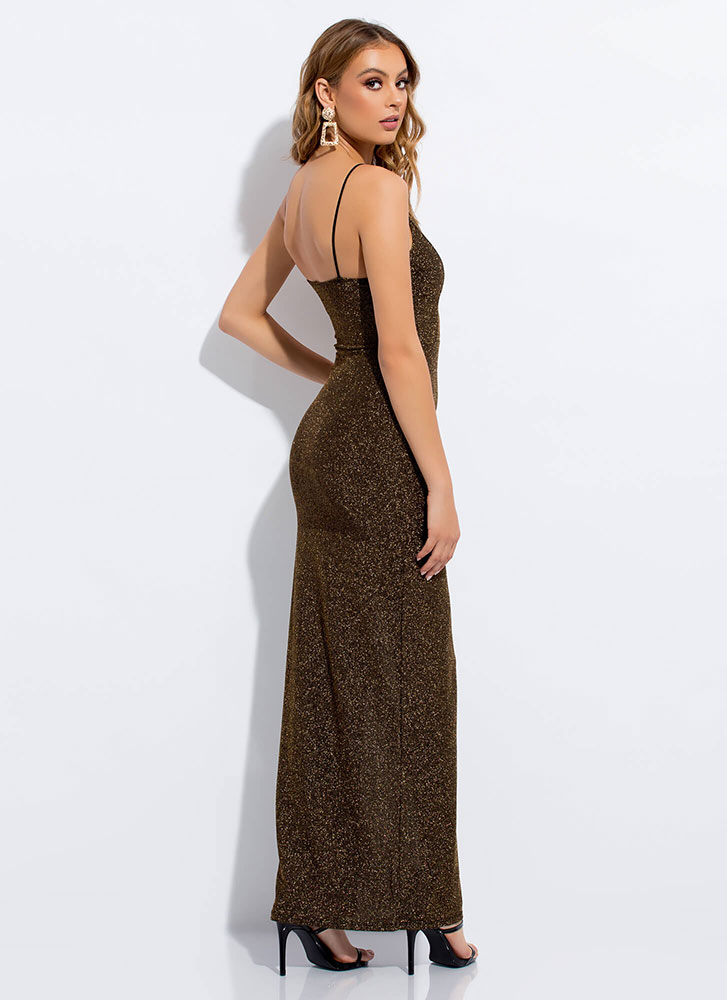 Glamour Girl Sparkly High-Slit Gown GOLD