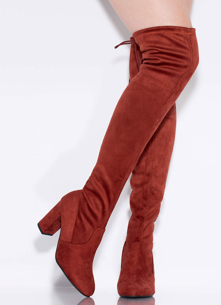 Tie-Breaker Chunky Thigh-High Boots RUST