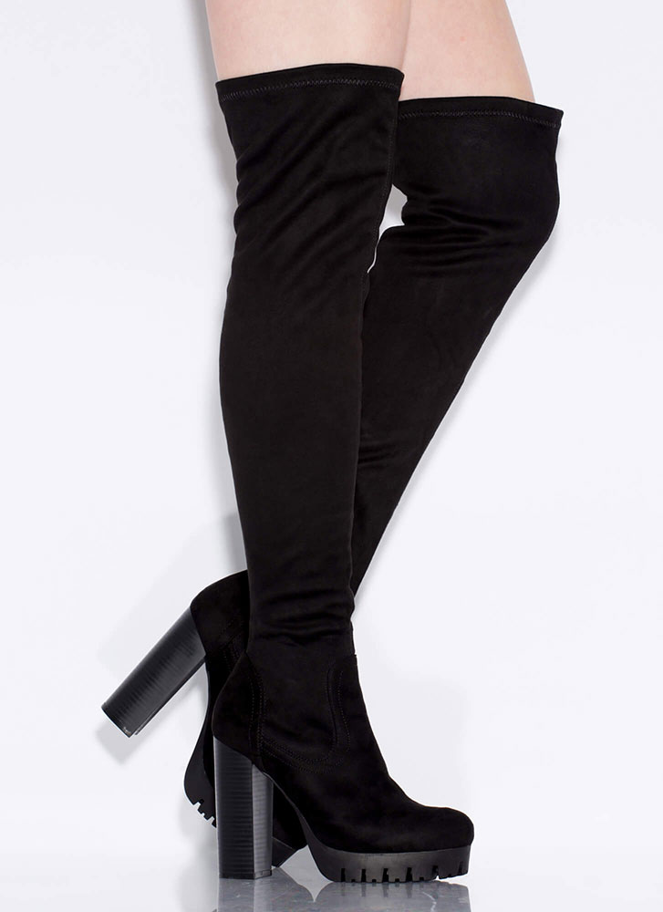 Lug Affair Chunky Thigh-High Boots BLACK