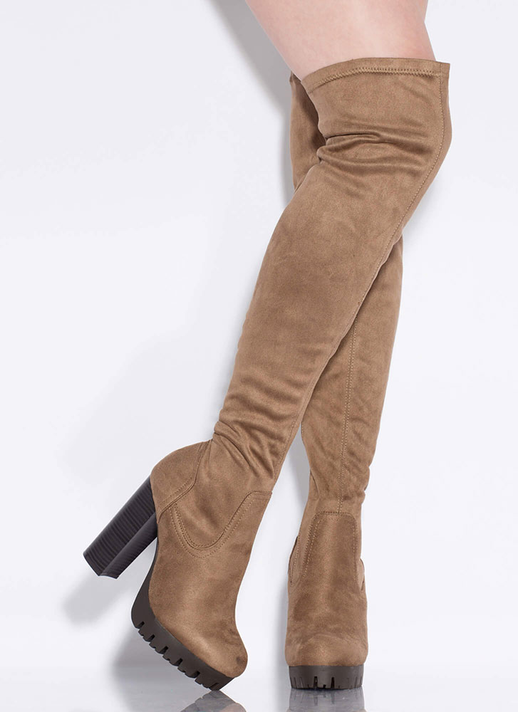 Lug Affair Chunky Thigh-High Boots TAUPE