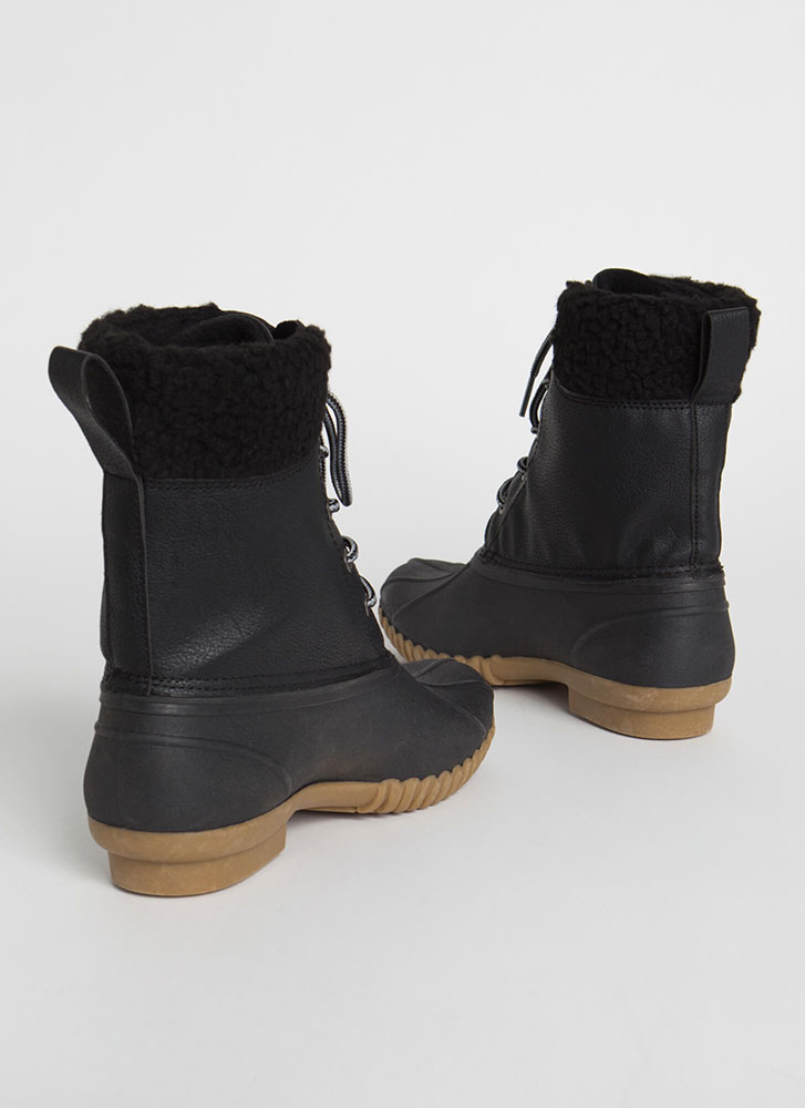 No Wade Out Faux Shearling Duck Boots BLACK