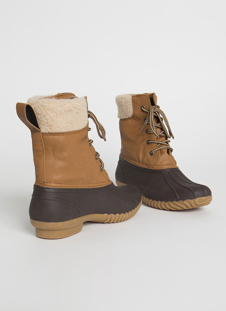 No Wade Out Faux Shearling Duck Boots TAN