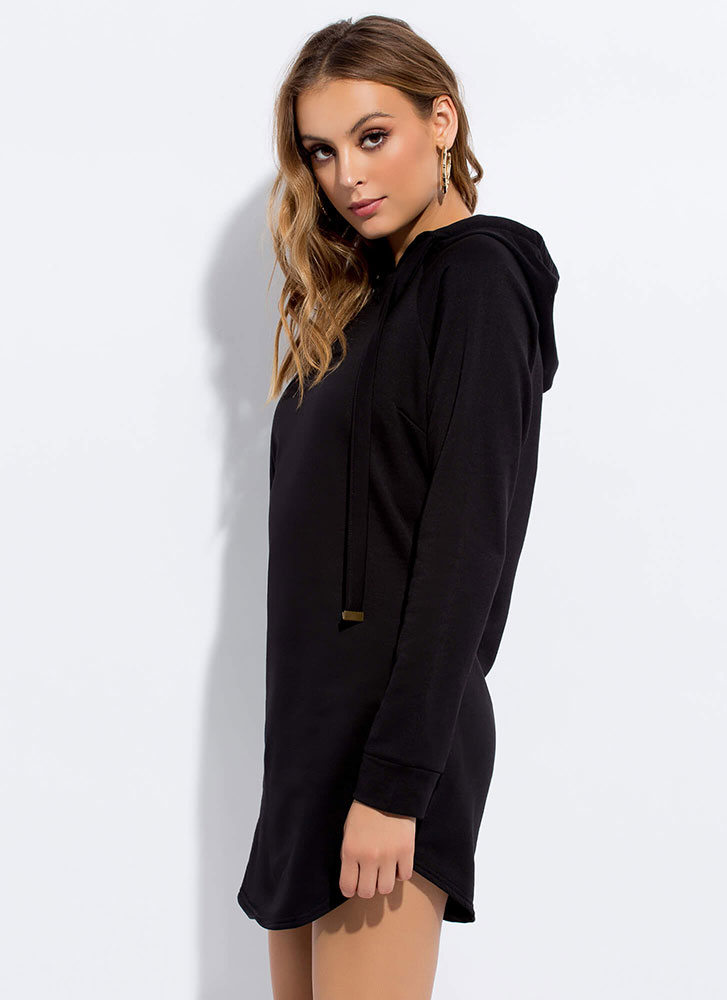 Cute And Casual Hoodie Minidress BLACK