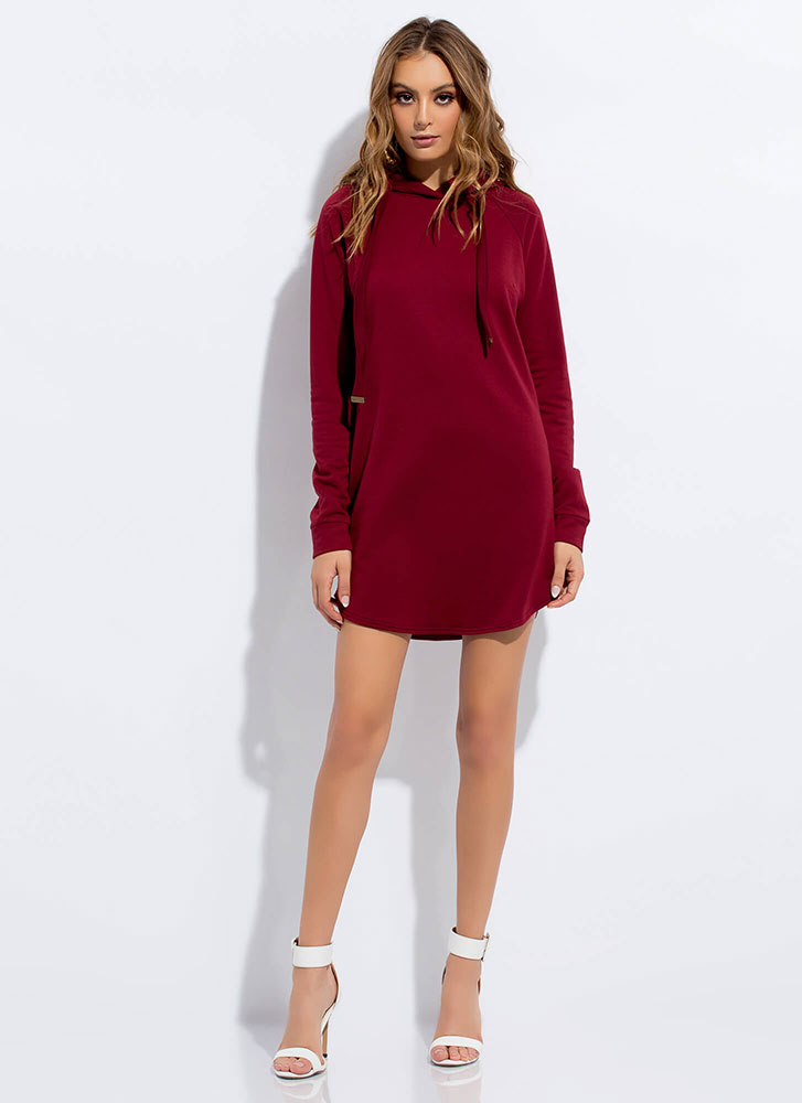 Cute And Casual Hoodie Minidress BURGUNDY