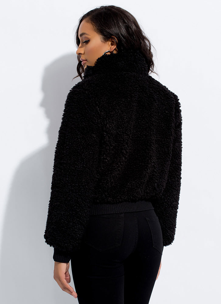Fur Certain Faux Shearling Bomber Jacket BLACK