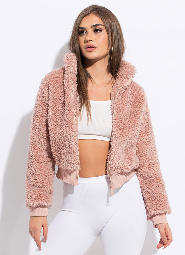 Fur Certain Faux Shearling Bomber Jacket MAUVE