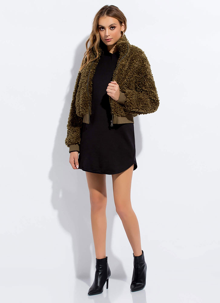 Fur Certain Faux Shearling Bomber Jacket OLIVE