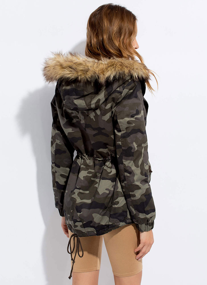 Cooler In Camo Hooded Furry Trim Jacket OLIVE