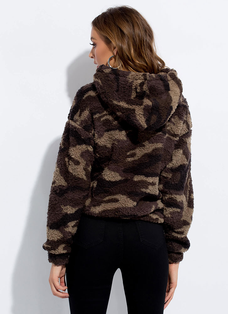 Come One Camo All Faux Shearling Hoodie OLIVE