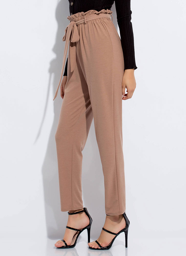 High Tied Paper-Bag Waist Pants TAUPE