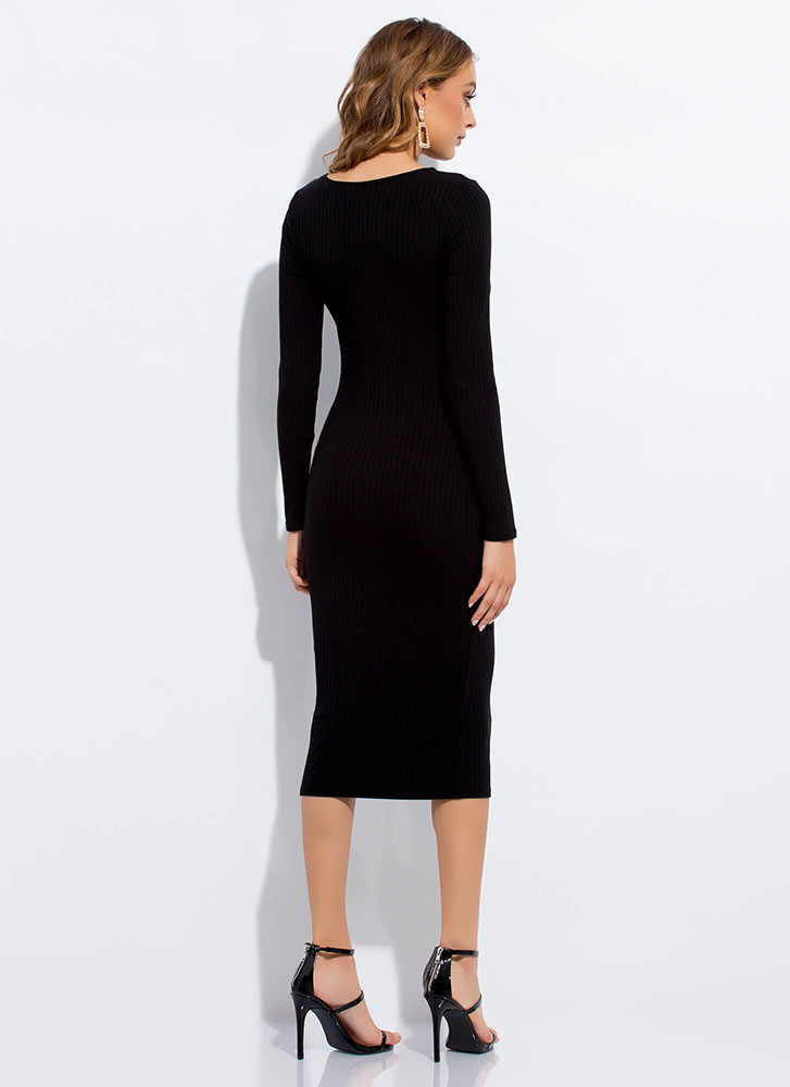 Learning The Basics Rib Knit Midi Dress BLACK