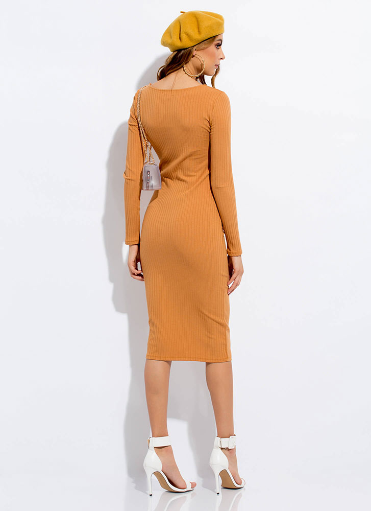Learning The Basics Rib Knit Midi Dress CAMEL