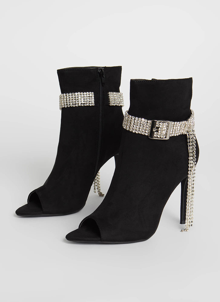 Luxe Be A Lady Jeweled Strap Booties BLACK