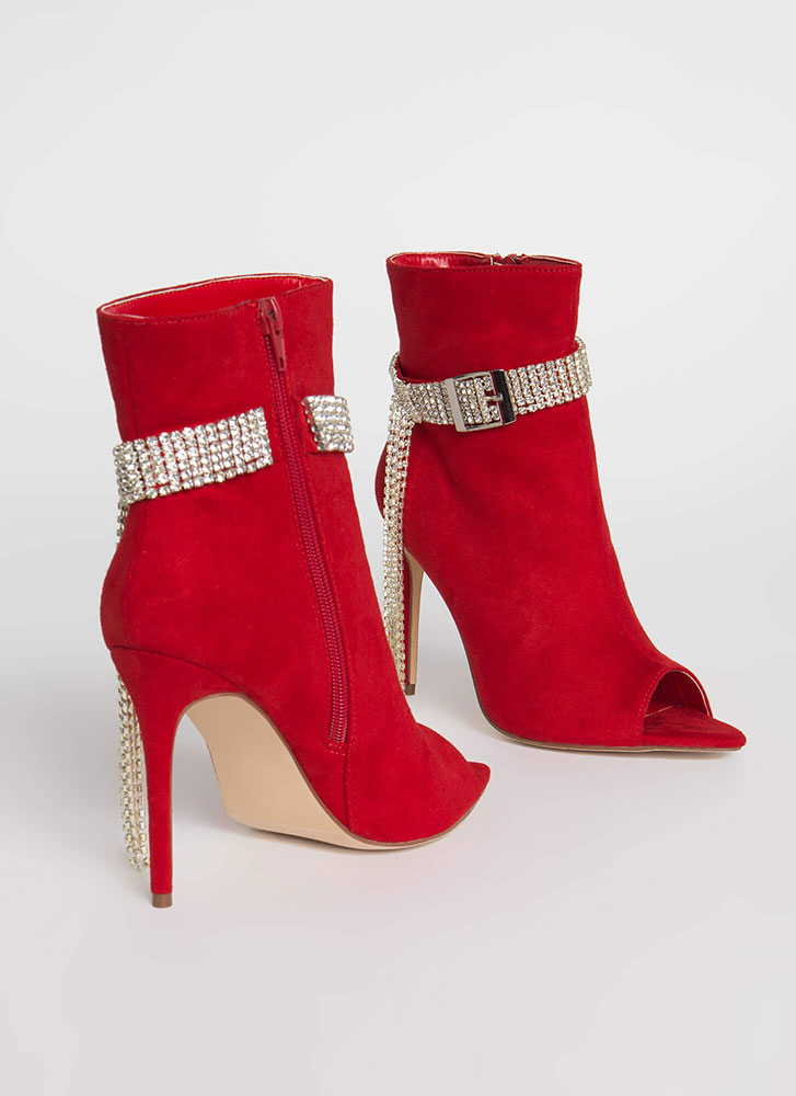 Luxe Be A Lady Jeweled Strap Booties RED